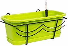 Set Balkonkasten Lime grün Untersetzer Halterung Bewässerung 40 cm
