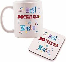 """Set bestehend aus Tasse und Untersetzer mit der Aufschrift """"Best 30Year Old"""", Geschenkidee zum 30. Geburtstag, perfektes Geschenk für Sie, Ihn, Sohn oder Tochter"""