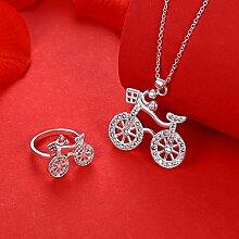 Set Fahrrad Diamant Zweiteilige Halskette Ring Set Weiblich Weiß Silber , Weiß , 8