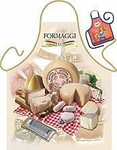 Set - Fun Grillschürze: Formaggi Italia - bedruckte Grill- und Kochschürze + Mini Deko Schürze