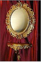 SET GOLD Wandspiegel + Konsole M OVAL Wandkonsole Barock Antik 44x38 Flur Eingangsmöbel Möbel Konsole Ablage Spiegel