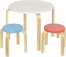 Set Kinder Sitzgruppe Kindertisch rund Kinderstühle Hocker Kindermöbel Holz