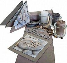 SET Konfirmation Fisch Servietten Kerzen Tischdeko Deko Greige Taupe Creme Silber