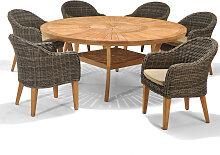 Set – Luna Gartentisch 2.0 180cm – 7-teilig -