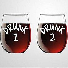Set mit 2 Weingläsern, getrunken, 1 und 2