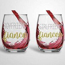 Set mit 2 Weingläsern ohne Stiel, für Freund,