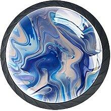 Set mit 4 Kristall-Schrankknäufen in Blau und