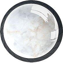Set mit 4 Kristall-Schrankknäufen Marmor Weiß