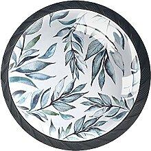 Set mit 4 Kristall-Schrankknäufen mit grünen