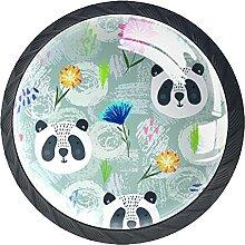 Set mit 4 Kristall-Schrankknöpfen in Panda-Optik,