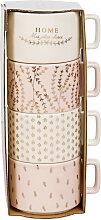 Set mit 4 Tassen aus weißer und rosa Fayence