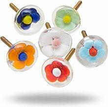 Set mit 6 Glastürgriffen Trifle Flower