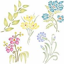 Set mit Blume Schablone-wiederverwendbar