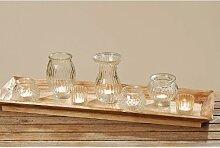 Set mit Vasen und Windlichten auf Holztablett Landhaus