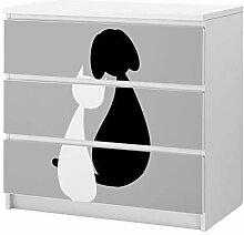 Set Möbelaufkleber für Ikea Kommode MALM 3