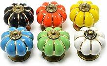 """Set Möbelknöpfe """"Krone"""" aus Porzellan mit antik Bronze Verzierung, (Set in vielen verschiedenen Farben erhältlich) Vintage Schrankknauf aus Keramik, Möbelgriff, Marke Ganzoo (6er SET, Gemischt)"""