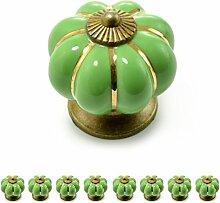 """Set Möbelknöpfe """"Krone"""" aus Porzellan mit antik Bronze Verzierung, (Set in vielen verschiedenen Farben erhältlich) Vintage Schrankknauf aus Keramik, Möbelgriff, Marke Ganzoo (8er SET, Grün)"""