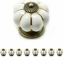 """Set Möbelknöpfe """"Krone"""" aus Porzellan mit antik Bronze Verzierung, (Set in vielen verschiedenen Farben erhältlich) Vintage Schrankknauf aus Keramik, Möbelgriff, Marke Ganzoo (8er SET, Weiß)"""