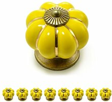 """Set Möbelknöpfe """"Krone"""" aus Porzellan mit antik Bronze Verzierung, (Set in vielen verschiedenen Farben erhältlich) Vintage Schrankknauf aus Keramik, Möbelgriff, Marke Ganzoo (8er SET, Gelb)"""