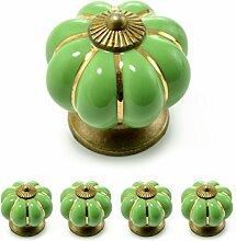 """Set Möbelknöpfe """"Krone"""" aus Porzellan mit antik Bronze Verzierung, (Set in vielen verschiedenen Farben erhältlich) Vintage Schrankknauf aus Keramik, Möbelgriff, Marke Ganzoo (4er SET, Grün)"""