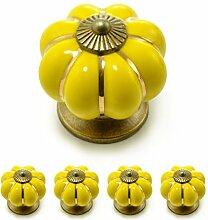 """Set Möbelknöpfe """"Krone"""" aus Porzellan mit antik Bronze Verzierung, (Set in vielen verschiedenen Farben erhältlich) Vintage Schrankknauf aus Keramik, Möbelgriff, Marke Ganzoo (4er SET, Gelb)"""