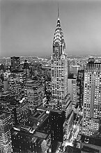 Set: New York, Chrysler Building Fototapete Poster-Tapete (175x115 cm) Inklusive 1x 1art1® Collection Poster