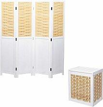 Set Paravent + Wäschekorb HHG-818, Raumteiler