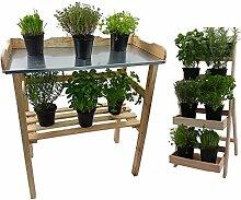 Set Pflanztisch + Blumentreppe aus Holz mit