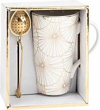 Set Porzellantasse mit Teesieb und Motiven