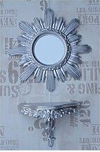 SET Silber Sonne Rund Wandspiegel + Konsole M