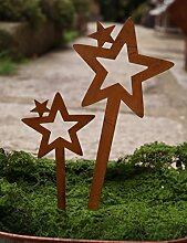 Set Sterne offen zum Stecken Rostoptik Metall 20/30cm Gartendeko Weihnachten - 2 STÜCK