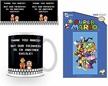 Set: Super Mario, Bros., Another Castle Foto-Tasse Kaffeetasse (9x8 cm) Inklusive 1 Super Mario Poster-Sticker Tattoo Aufkleber (15x10 cm)