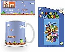 Set: Super Mario, Bros., Retro Title Foto-Tasse Kaffeetasse (9x8 cm) Inklusive 1 Super Mario Poster-Sticker Tattoo Aufkleber (15x10 cm)
