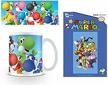 Set: Super Mario, Bros., Yoshi's Foto-Tasse Kaffeetasse (9x8 cm) Inklusive 1 Super Mario Poster-Sticker Tattoo Aufkleber (15x10 cm)
