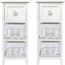 Set von 2Paar schmale Slim Weiß 3Kommode Schublade Flur Kinder Schlafzimmer Nachttisch Schrank