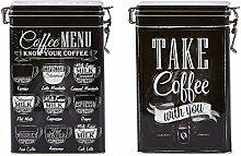 Set von 2, schwarz & weiß Kaffee Dosen–2Designs–Vintage Style eckig Kaffee Dose/Caddy/Küche Blechdose/Vorratsdose Kanister–hermetisch abgedichte