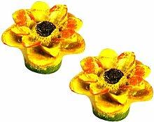 Set von 2 Stilvolle Schrank Knöpfe Schublade Handle Schöne Schublade Ziehen Griffe Blume Gelb