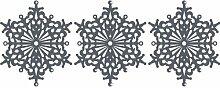 Set von 3 - 20 cm Farbe Dunkelgrau Schneeflocken Weihnachten Schneeflocken Aufkleber , Weihnachten Aufkleber, Yule , Fenster Aufkleber , Wandaufkleber , Schneeflocke Vinyl Aufkleber , ThatVinylPlace