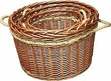 Set von 3 Buff Rope Handled Log Baskets