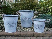 Set von 3Vintage Style Metall Übertopf Aufbewahrung Eimer Garten mit Seil Griffe