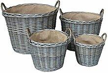 Set von 4 Antique Wash-Finish Wicker Gefüttert Log Baskets