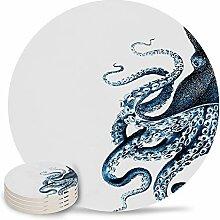 Set von 4 Keramik-Untersetzern Steampunk Ocean