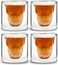 Set von 4 Kristall Schädel Kopf Wodka Schuss Weingläser Teetassen, neue Design 75ml / 2.6oz Double Walled Thermo Gläser Wasser Glas Weinglas Whisky Glas Kristall Schädel Bier Gläser Kreative Bar Glas Doppelschicht Gläser Set Ideal Geschenk für Männer von Frauen (style-1)