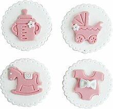 Set von 4 Simulation Biscuits Künstliche Fake Biscuits Party Dekoration [Rosa]