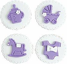 Set von 4 Simulation Biscuits Künstliche Fake Biscuits Party Dekoration [Lila]