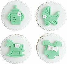 Set von 4 Simulation Biscuits Künstliche Fake Biscuits Party Dekoration [Grün]