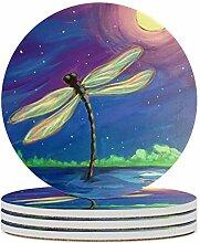 Set von 4 Untersetzer, künstlerische Libelle,