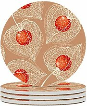 Set von 4 Untersetzern, Art Fruit, leicht zu