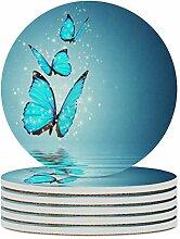 Set von 4 Untersetzern, Blue Butterfly, leicht zu