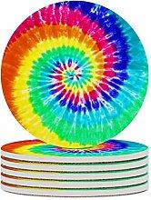 Set von 4 Untersetzern, farbig gebatiert, leicht